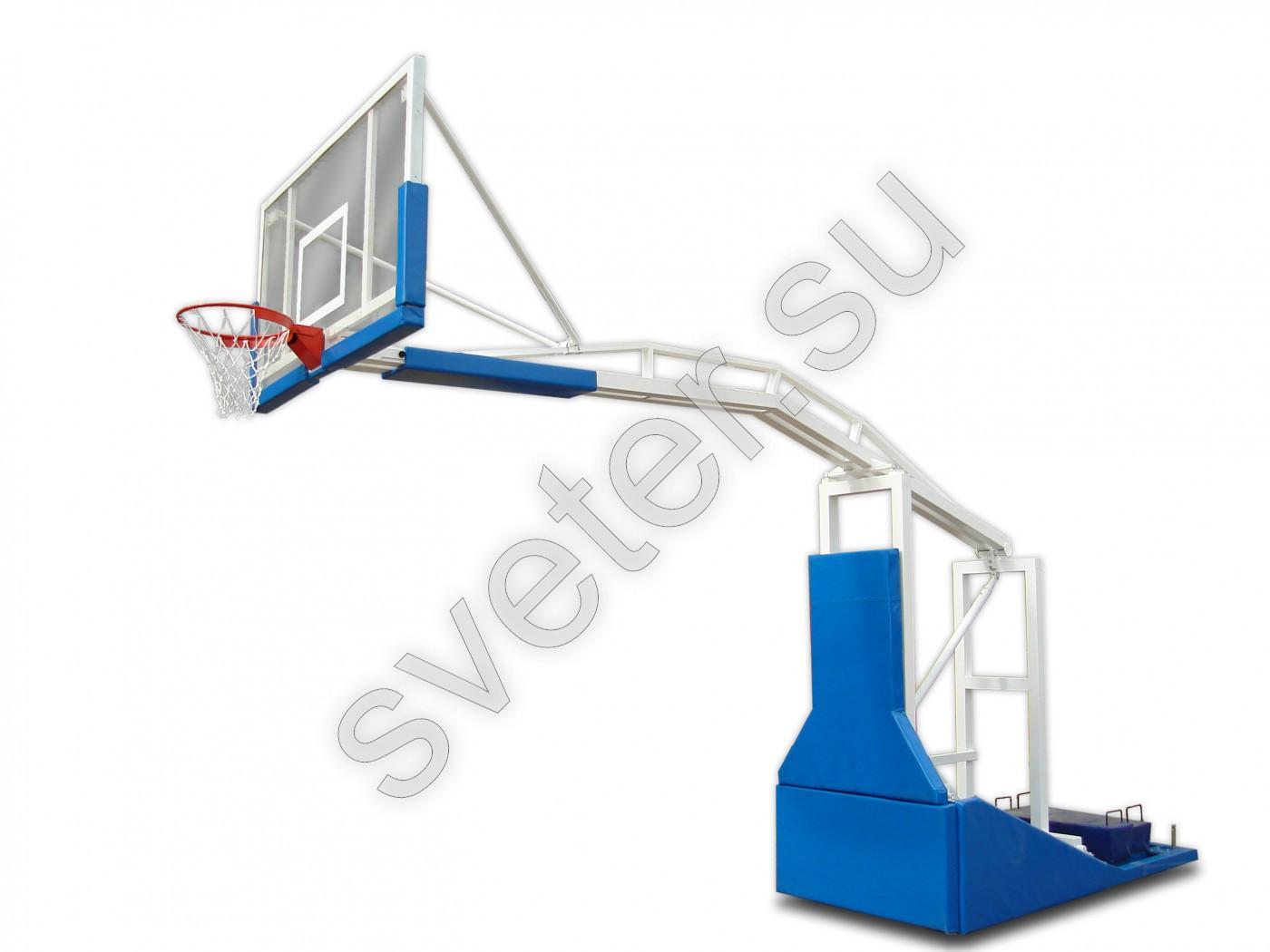 9c6eedb1 Стойка баскетбольная мобильная складная с выносом 1,65м с лебёдочным  подъёмом стрелы без противовесов